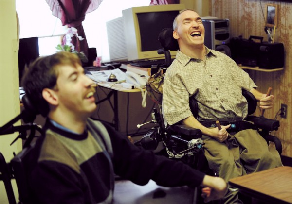Eric Reeves (right) makes a joke during an interview at Penobscot Nursing Home on Saturday, Dec. 26, 2009. Reeves and a fellow nursing home resident, Jake Van Meter (left), are suing the state because their only living option is the nursing home. They both contend that living amid people who are at the end stage of life is depressing for them.