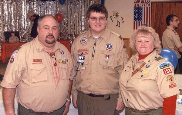 Daniel Haley (center) of Limestone has attained the rank of Eagle Scout, the highest honor among Boy Scouts of America, with the help and guidance of his troop leaders, Scoutmaster Larry Cote (left) and Assistant Scoutmaster Elaine Cote.