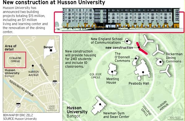 Husson University Campus Map.Husson Unveils 15m Expansion Bangor Bangor Daily News Bdn Maine
