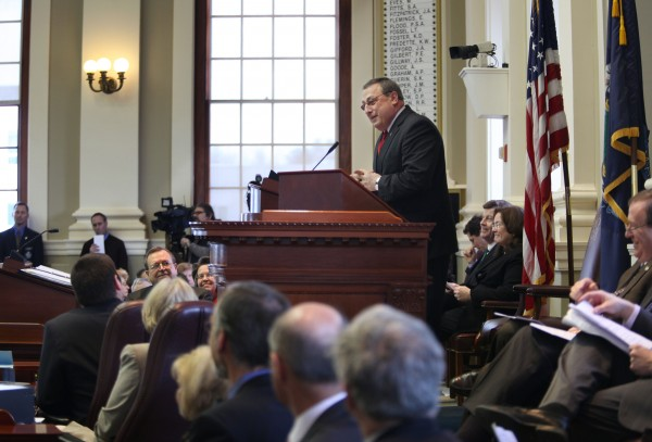 Gov. Paul LePage unveils his two-year state budget to a joint session of the Maine Legislature on Thursday.