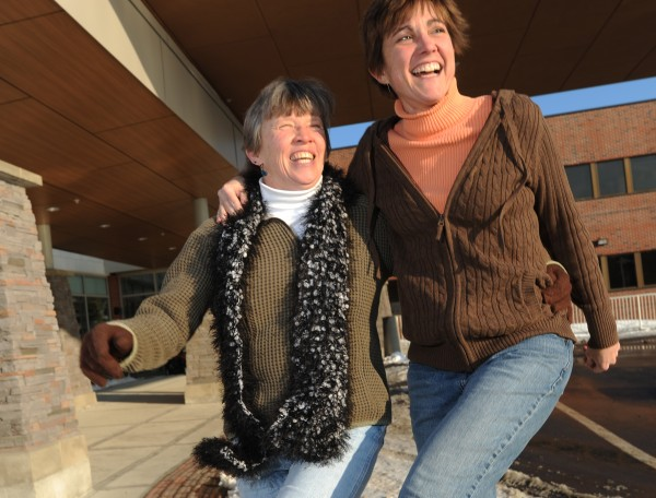 Deb Hubbard (left) and Jan Watson goof around outside the Maine Coast Memorial Hospital in Ellworth on Sunday, Feb. 27, 2011. Jan calls Deb her best friend and has good reason to. She received a liver transplant from Deb, her co-worker, at the hospital 10 months ago.