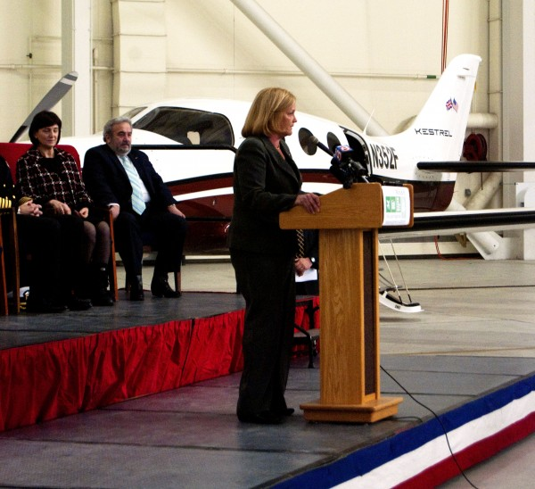 Rep. Chellie Pingree, D-Maine, attended an event at which the Navy turned over control of runways at the Brunwick base to a civilian authority.