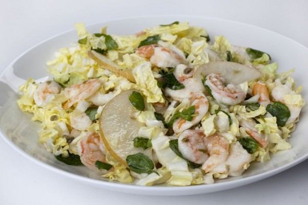 Tangy Caper Asian Pear Shrimp Salad offers a spicy treat without the sodium.