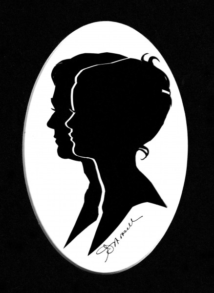 A double silhouette by Ruth Monsell of Damariscotta.