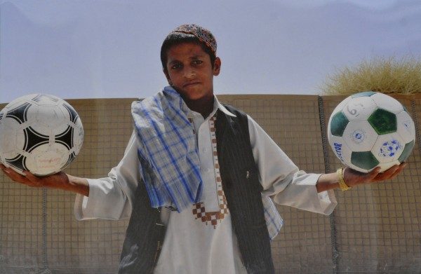 This photo of an Afghan boy was taken by an unkown soldier in Maine's 286th Combat Support Sustainment Battalion, a non-combat arms wing of the Joint Sustainment Command in Afghanistan. It is part of a soldier exhibit at the Jean B. Chalmers Gallery at the Lincoln Street Center for Arts & Education in Rockland.