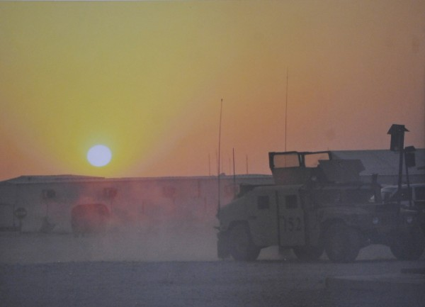 Staff Sgt. R. Clifford took this photo of a sunset in Iraq during the 2006-2007 deployment with Bravo Company, 3rd/ 172nd Infantry . It is part of a soldier exhibit at the Jean B. Chalmers Gallery at the Lincoln Street Center ofor Arts & Education in Rockland.