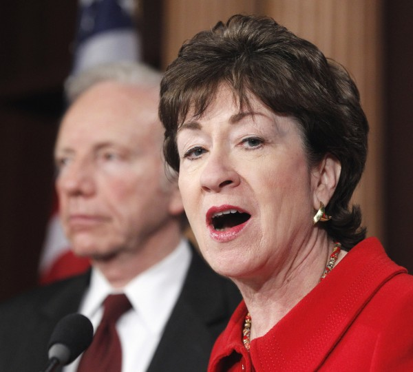U.S. Sen. Susan Collins, R-Maine, the ranking Republican on the Senate Homeland Security and Governmental Affairs Committee, accompanied by committee Chairman Sen. Joseph Lieberman, I-Conn., speaks Tuesday during a news conference on Capitol Hill in Washington about the release of a GAO report on northern border security.