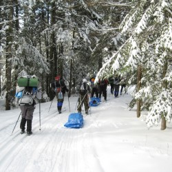 Students enrolled in the Adventure Recreation and Tourism program ski to their overnight destination in Cobscook Bay State Park where they would test their winter camping skills.