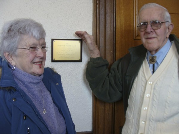 A dedication was held February 20 in memory of the late Evelyn Crawford Bruce of Dexter at the Abbott Memorial Library in Dexter. Bruce left more than $30,000 to improve the library. Flanking a plaque in Bruce's memory are Bruce's sister Donna Crawford Lagasse and Bob Crawford, both of Dexter.