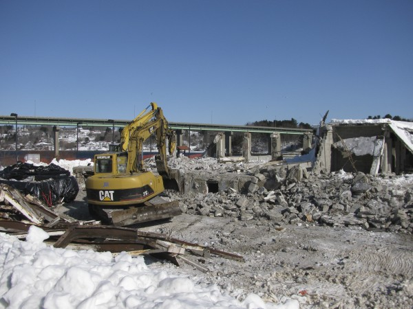 Demolition began this week on one of the dilapidated former Stinson Seafood buildings off Front Street in Belfast.