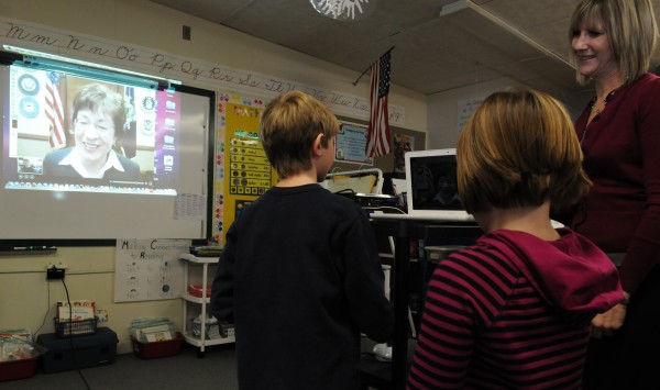 Students in Cherrie MacInnes' third-grade class at Washington Street School in Brewer line up Monday for a chance to speak with Sen. Susan Collins on Skype.