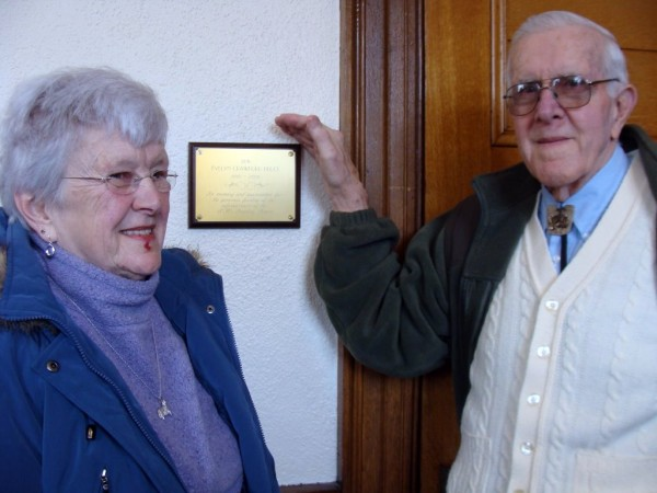 A dedication was held Saturday in memory of the late Evelyn Crawford Bruce of Dexter at the Abbott Memorial Library in Dexter. Bruce left more than $30,000 to improve the library. Flanking a plaque in Bruce's memory are Bruce's sister, Donna Crawford Lagasse, and Bob Crawford, both of Dexter.