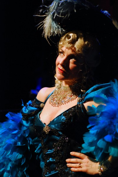 "AJ Mooney performs as Mae West in Penobscot Theatre's production of ""Dirty Blonde,"" set to open in previews this Wednesday. MICHAEL WESTON"