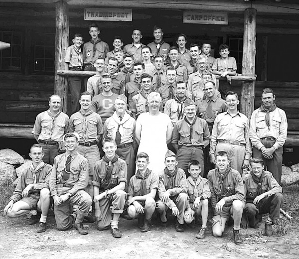 A June 29, 1945, photo from the Bangor Daily News shows Boy Scout executives and staffers who watch over more than 1,000 Scouts during the summer at Camp Roosevelt at Little Fitts Pond, Eddington. The caption did not indicate rows, but pictured are: Warren Whitaker, Robert Morton, William Hill, all of Bangor; John Rowe, Milo; Norman Dionne, Millinocket; Wade Morse, Machias; Robert Carpenter, Bangor; Harold Buck, Millinocket; Lloyd Noyes, Old Town; Bernard Mann, Bangor; Melvin Kittredge, Milo; Dan Gough, Pembroke; Clarence Irivn,g Ellsworth Falls; Richard Hatch, Houlton; Warren Morang, Houlton; Philip Kittredge, Milo; John Needham, Jr., Orono; Richard Emery, Ellsworth; Lawrence Coolidge, Winterport; Earl Hayford, Rockland; Robert Watt, Ellsworth Falls; Richard White, Orrington; Arthur Hollands, Orono; Ralph Leonard, Old Town; Harry Houston, Brewer; Newall Ware, Lincoln; Clifford Reil, Ellsworth; David Dunphey, Bangor; Clyde Philbrick, Winterport; Dale Whitney, Milo; Burt Mann, Eddington; Charles Jackson, Houlton; John Jalbert, Fort Kent; George White, Orrington; Leonard Salisbury, Brewer; Fred Balke, Guilford; Loring Bridgham, Machias; Lawrence Gardner, Eat Machias; Cecil Richardson, Bradley. The Boy Scouts of America marked their centennial last year. Eddington marks its bicentennial this year.