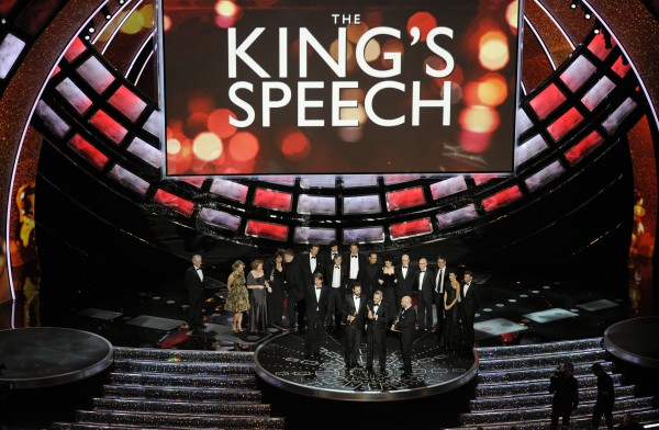 Iain Canning, Emile Sherman and Gareth Unwin accept the Oscar for best motion picture for &quotThe King's Speech&quot at the 83rd Academy Awards on Sunday, Feb. 27, 2011, in Hollywood.