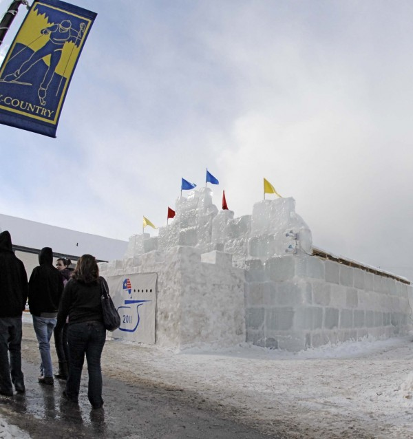 Visitors strolling along Main Street in Fort Kent take time to check out the Chateau du Festival constructed out of hundreds of ice blocks harvested from a local lake. At night the ice palace turns into an entertainment hall featuring food, drink and music.