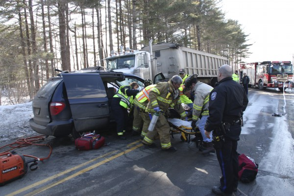 Rockland Fire and EMS went to the scene of a two-vehicle accident on Old County Road on Monday, Feb. 7, 2011. The driver of a minivan involved in the accident was taken to Penobscot Bay Medical Center.