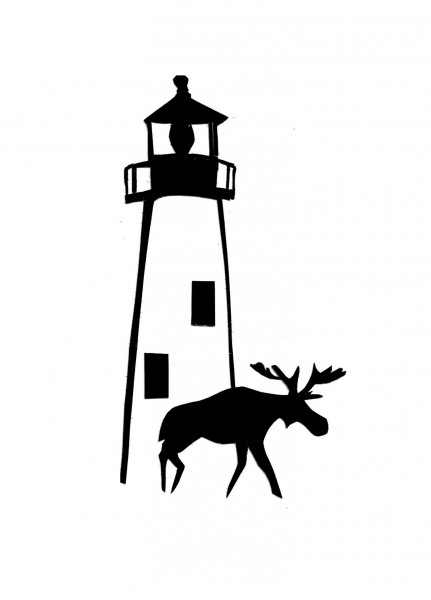 A silhouette cut by Ruth Monsell of Damariscotta.