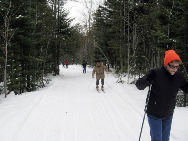 A few of the skiers at Treworgy's Family Orchards who enjoyed the benefit of groomed trails at the site of a planned Nordic ski center on the farm.