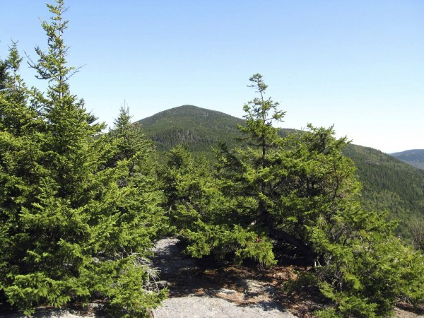 Barren Mountain's summit rises in the view from the Appalachian Trail in Maine north of Monson.