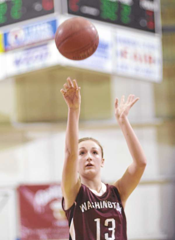 Taylor Seeley of Washington Academy of East Machias shoots a free throw during Friday's Eastern Maine Class C girls semifinal at the Bangor Auditorium. Seeley was named Most Valuable Player of the EM Class C girls tourney.