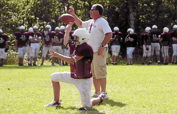 Coach Paul Withee directs a preseason practice at Foxcroft Academy in 2007. Withee was named head football coach at Oxford Hills in South Paris Monday night.