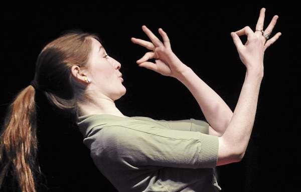Brewer High School senior Rachel Caron as Medea during the rehearsal of the play Medea.