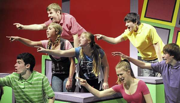 Rockland District High School students during the rehursal of the school's production of the Sideways Stories From Wayside School.