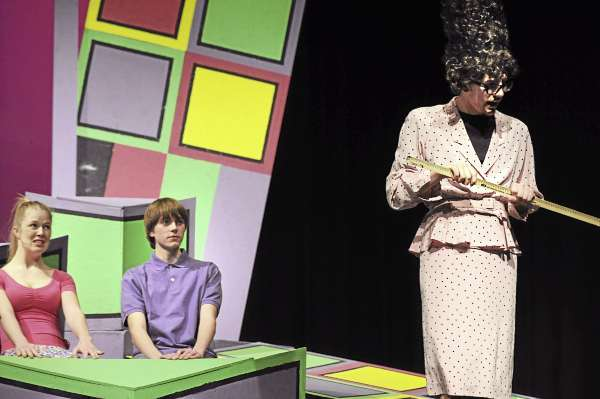 Rockland District High School junior Conor Pfister as Mrs. Gorf (right) during the rehursal of the school's production of the Sideways Stories From Wayside School.