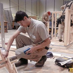 Johnathon Smith, a student at Eastern Maine Community College, competes in the construction competition during the SkillsUSA Maine Championships at United Technologies Center in Bangor on Friday, March 11, 2011. The annual event is a state-level competition for high school and college students enrolled in trade, technical, and skilled service instructional programs.