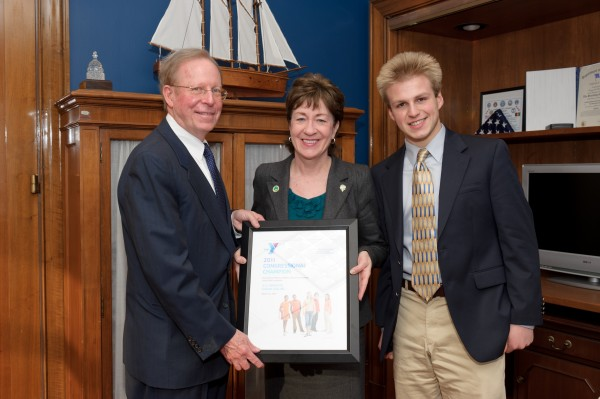 Members of the YMCA Alliance of Maine were in Washington this week to present the &quot2011 YMCA of the USA Congressional Champion Award&quot to U.S. Senator Susan Collins. Stephen Richards of Mount Desert Island (left), who is Chair of the YMCA Alliance of Maine, and Madison Luck, a youth member from MDI, presented the award to Senator Collins in recognition of her leadership on diabetes prevention efforts.