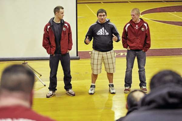 From left: Dylan Morris, Greg Duff and Jesse Wood spoke to aspiring youth league baseball coaches during the Bangor Baseball Committee's clinic at Bangor High School Thursday evening, March 17, 2011. The young men related their experiences last summer when their team was one win away from winning the Senior League World Series.