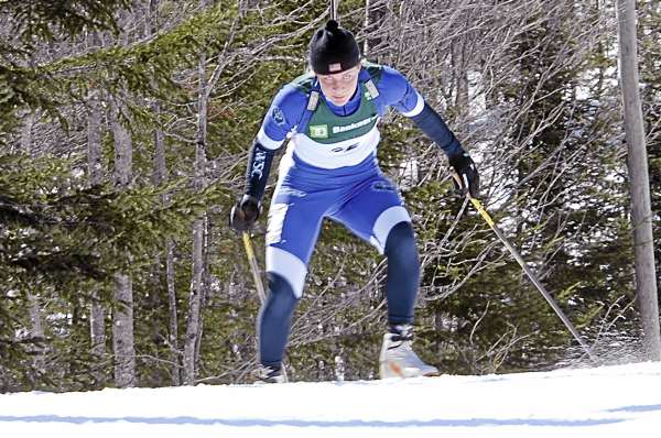 Fort Kent's Grace Boutot is in the zone as she powers up a hill on the course at the 10th Mountain Ski center. Boutot is taking a break from biathlon competition.