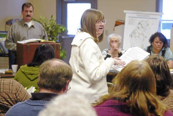 Paula Kelso addresses the residents gathered for Clifton's town meeting on Saturday. Among the issues discussed and voted upon were land use ordinances pertaining to future wind energy projects.