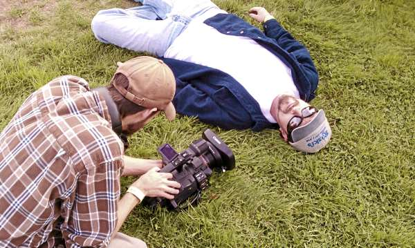 "Barry Dodd, director of ""Ragged Isle,"" films actor Mark Lennon."