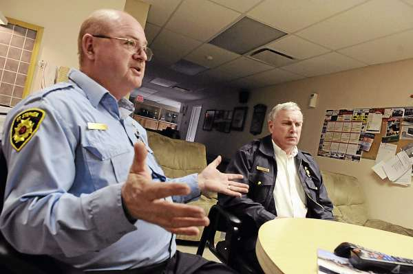 St. Stephen, N.B. Fire Chief Jeff Richardson (left) and Calais Fire/E.M.S. Chief Dan Carlow talk with the BDN at the St. Stephen F.D. headquarters, Tuesday, March 23, 2010. Calais and St. Stephen fire departments have had a long-time mutual aid agreement.