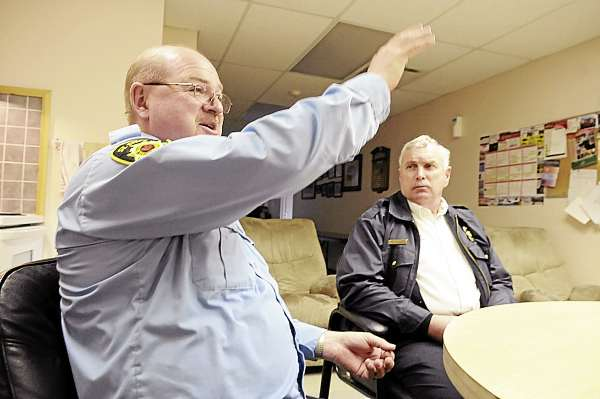 St. Stephen, N.B. Fire Chief Jeff Richardson (left) and Calais Fire/E.M.S. Chief Dan Carlow talk with the BDN at the St. Stephen F.D. headquarters, Tuesday, March 23, 2010. &quot We have confidence putting our lives in their hands and I think they feel the same way about us,&quot said Chief Carlow. Calais and St. Stephen fire departments have had a long-time mutual aid agreement.