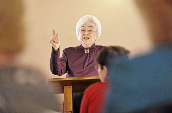 Long-time Sunday school teacher  Louise Church of Corinth delivers her  lesson at Charleston Pentecostal Church on March 27, 2011. &quotI felt the call of God on my life as a young person,&quot said Church who turned 90 in February.  &quotI love to teach and I love the word of God.&quot