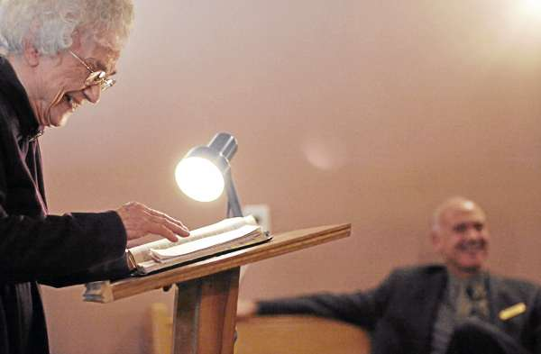 Louise Church, left, of Corinth injects some humor as she delivers her Sunday school lesson at Charleston Pentecostal Church on March 27, 2011. &quot I felt the call of God on my life as a young person, &quot said Church who turned 90 in February.  &quotI love to teach and I love the word of God.&quot