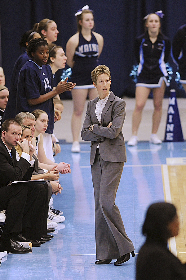 UMaine women's basketball coach Cindy Blodgett watches her team play against Stony Brook at Alfond Arena in Orono earlier this year. Blodgett and the Black Bears finished the season with a 4-25 record. Blodgett was relieved of her duties March 29.