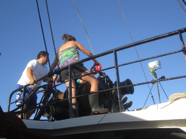 Rick and Karen Miles pull up the anchor on the Wanderbird.