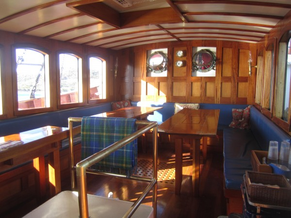 The &quotcoach house,&quot on board, for passenger dining and relaxation