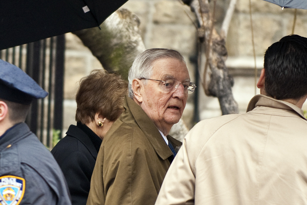 Former U.S. vice president Walter Mondale arrives for the funeral mass of former vice presidential candidate Geraldine Ferraro at the Church of Saint Vincent Ferrer in New York, Thursday. Ferraro was Mondale's running-mate during his presidential bid in 1984.