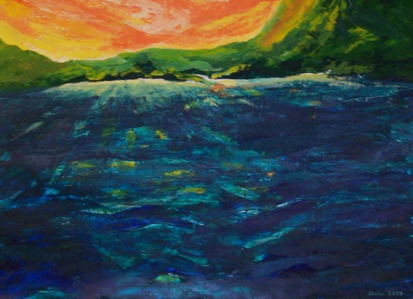 &quotTropical Rolling Waves,&quot an acrylic painting by Stella Sherman of Biddeford, won third place in ARTomania, a contest organized by the online art community Fine Art America that ended March 11.