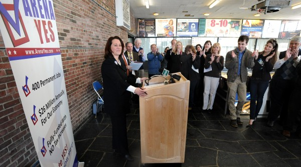 Julia Munsey (left) the chairwoman of the board of directors of the Bangor Region Chamber of Commerce speaks during the kick-off event of the Arena Yes campain at the Bangor Auditorium on Thursday.