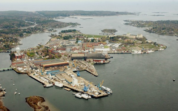 The Portsmouth Naval Shipyard is seen on an Island between New Hampshire, right, and Maine, in Kittery, Maine, in a Friday, May 6, 2005 file photo.