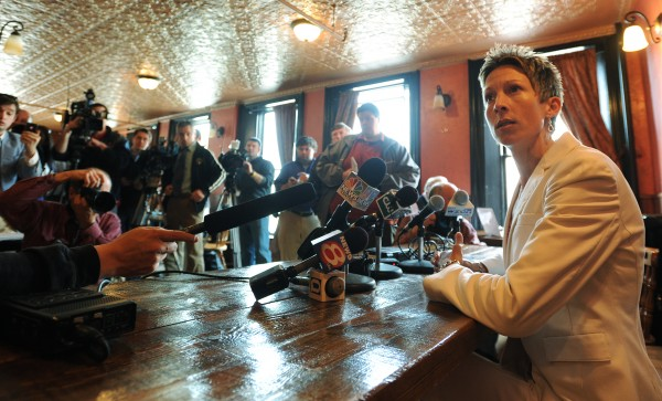 Former UMaine Women's basketball Coach Cindy Blodgett takes questions from a packed room of journalists at Paddy Murphy's bar in downtown Bangor on Thursday, March 31, 2011.