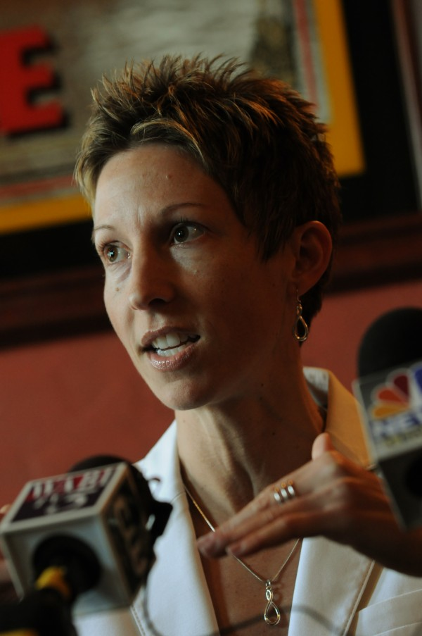 Cindy Blodgett during her Thursday press conference.