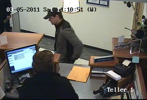 A surveillance image shows a man suspected of robbing the Bangor Savings Bank branch on Broadway on Saturday afternoon.