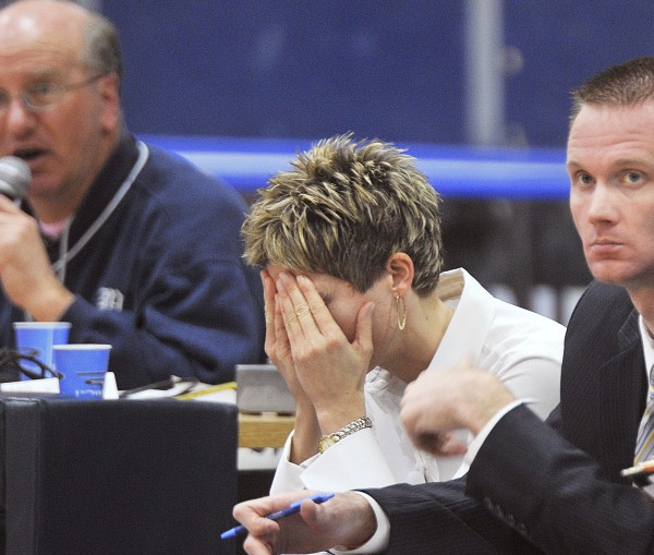 Maine women's basketball coach Cindy Blodgett reacts to a call during a game against Stony Brook in March of 2009. Blodgett was fired Tuesday by the university.